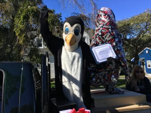Petey with Parade penguin